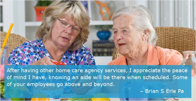 A Loving Hearts Home Care is helping to plan a meal.