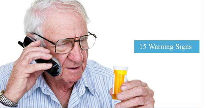 Senior having difficultly reading a bottle of medication
